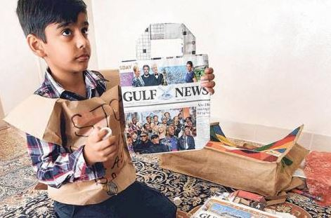 Abdul Muqeet 10 year old boy saving environment by making paper bags