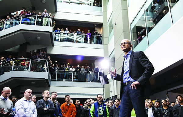 Sathya Nadella addressing Microsoft employees