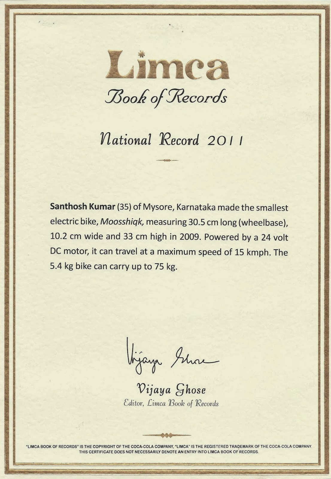 Moosshiqk on Limca Book of Records